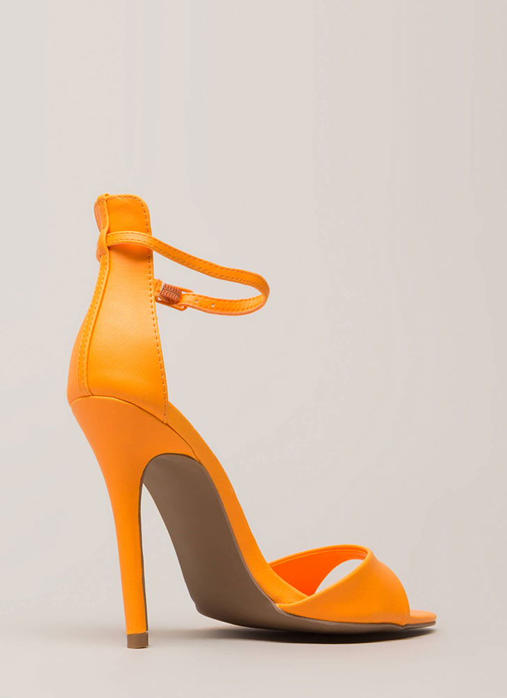 Here's The Skinny Ankle Strap Heels NEONTANGRNE