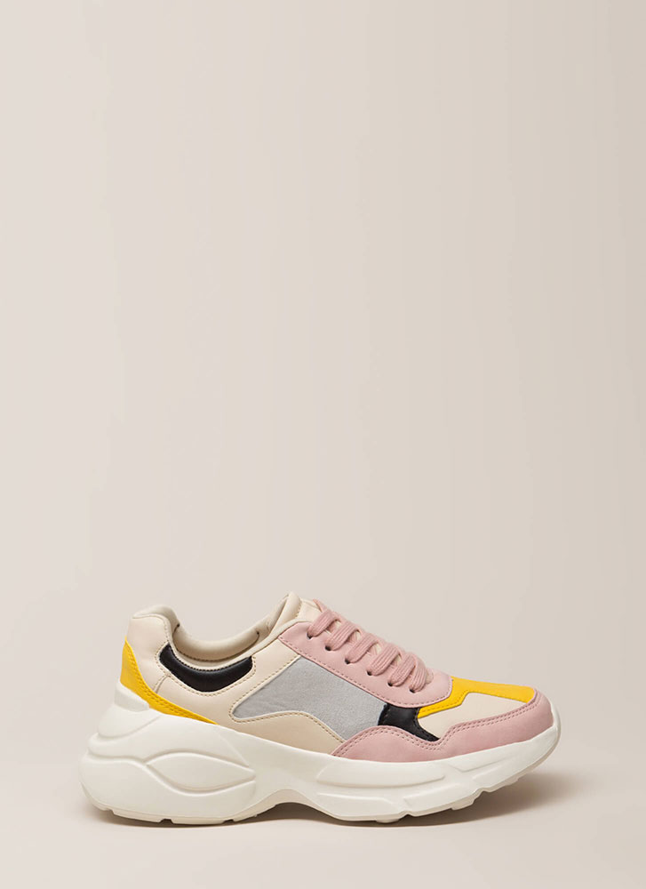 Colorblock Party Paneled Sneakers BLUSH