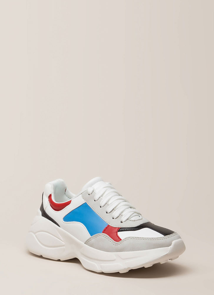 Colorblock Party Paneled Sneakers GREY