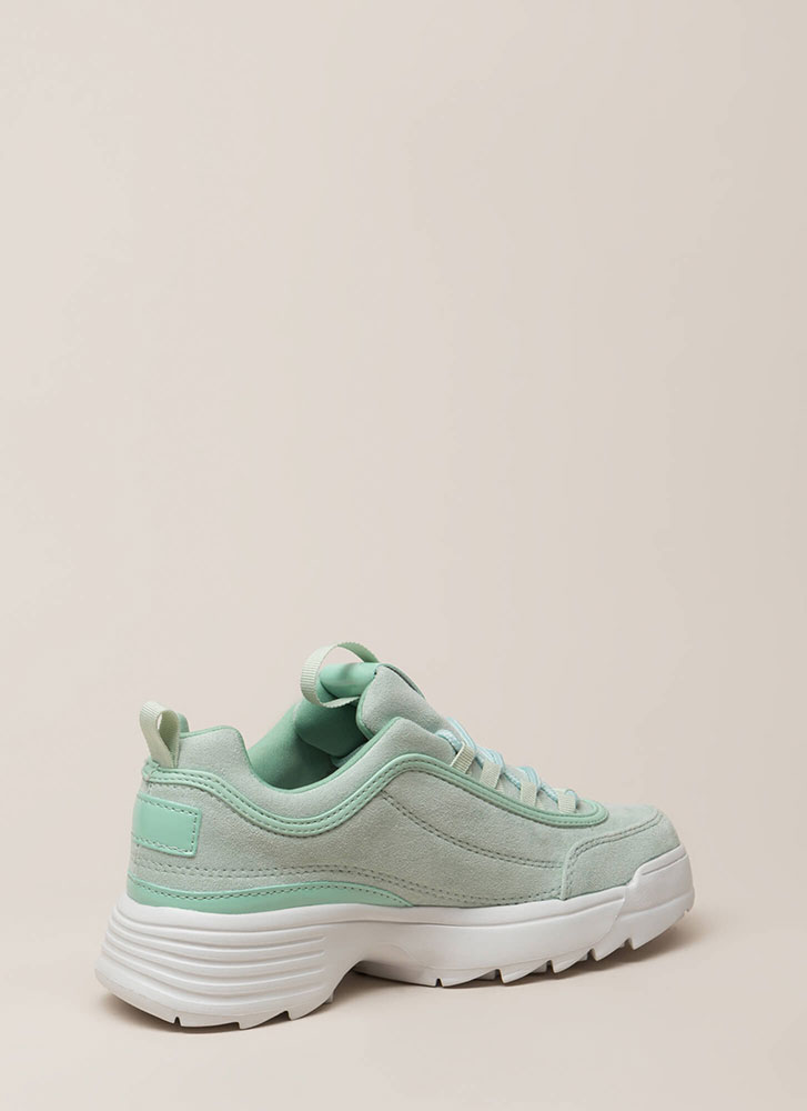 Run The World Faux Suede Sneakers ALOE