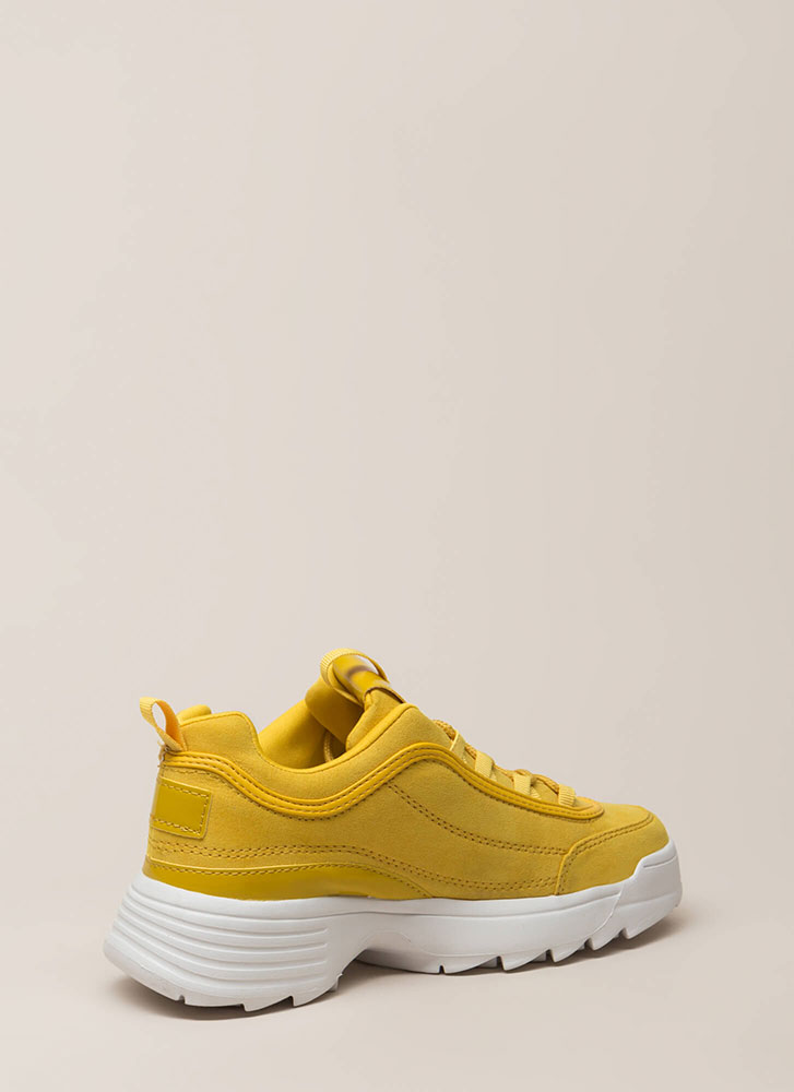 Run The World Faux Suede Sneakers YELLOW