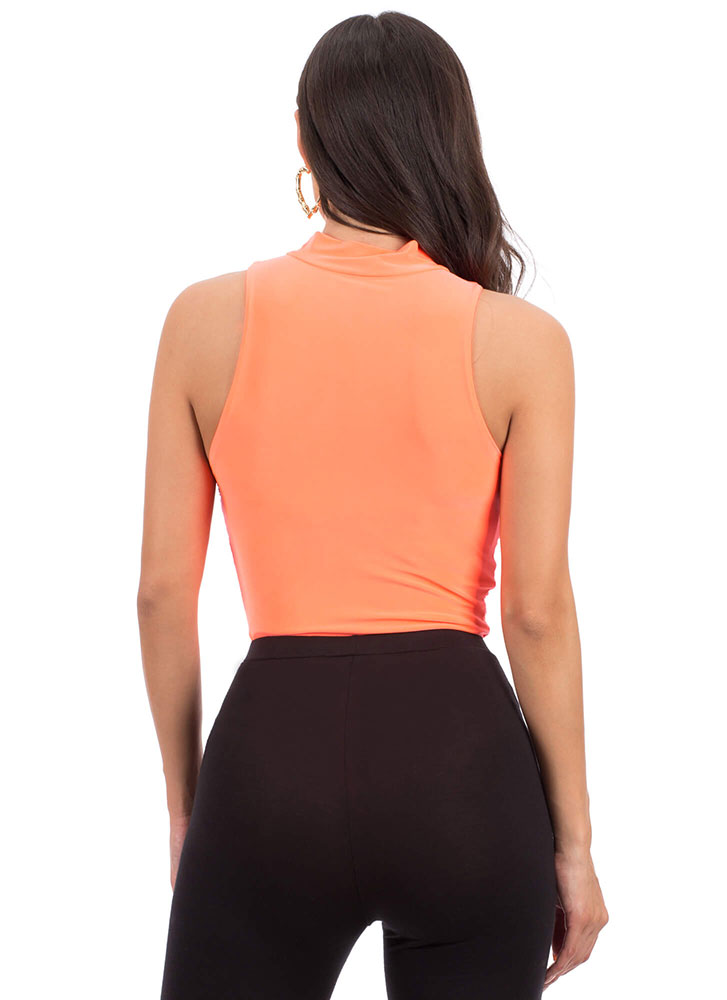 I'm Shirr Of It Ruched Bodysuit NEONORANGE