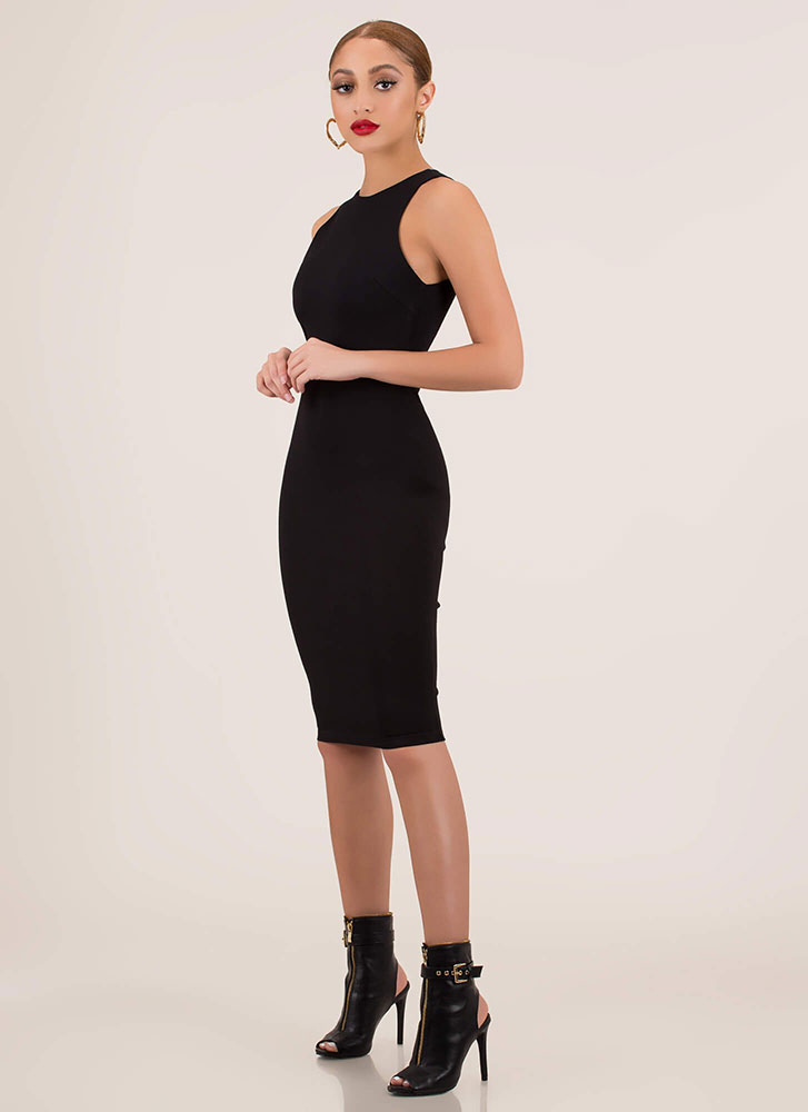 Simple Satisfaction Bodycon Midi Dress BLACK