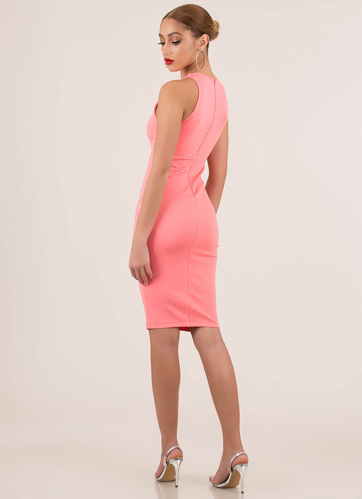 Simple Satisfaction Bodycon Midi Dress CORAL