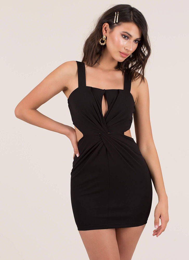 A Twist To The Story Cut-Out Minidress BLACK