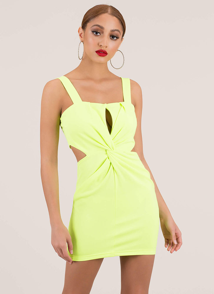 A Twist To The Story Cut-Out Minidress NEONYELLOW