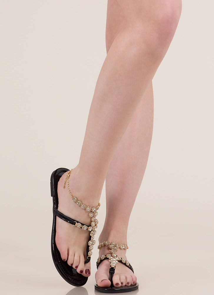 New Anklet Jeweled Caged Sandals BLACK