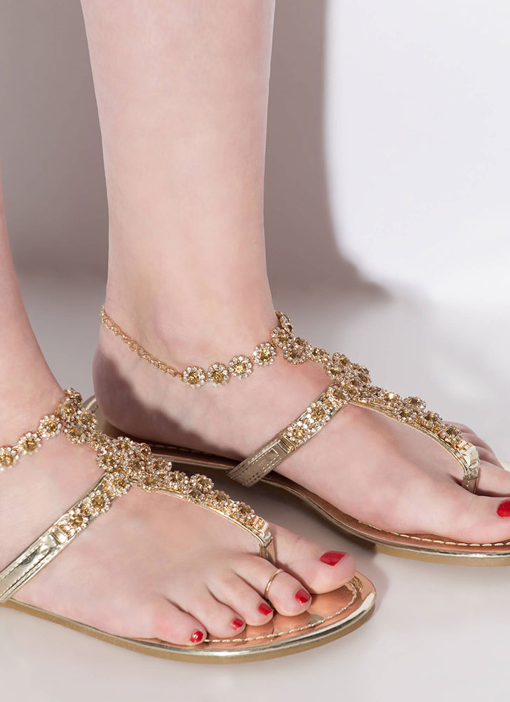New Anklet Jeweled Caged Sandals GOLD