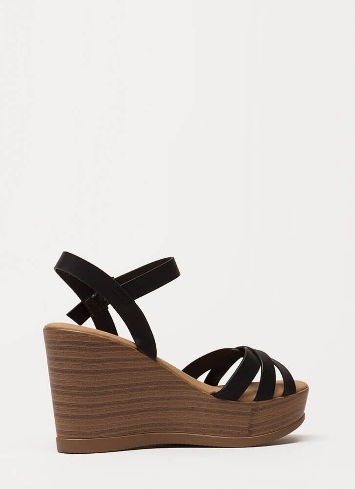 Fun Times Strappy Faux Leather Wedges BLACK