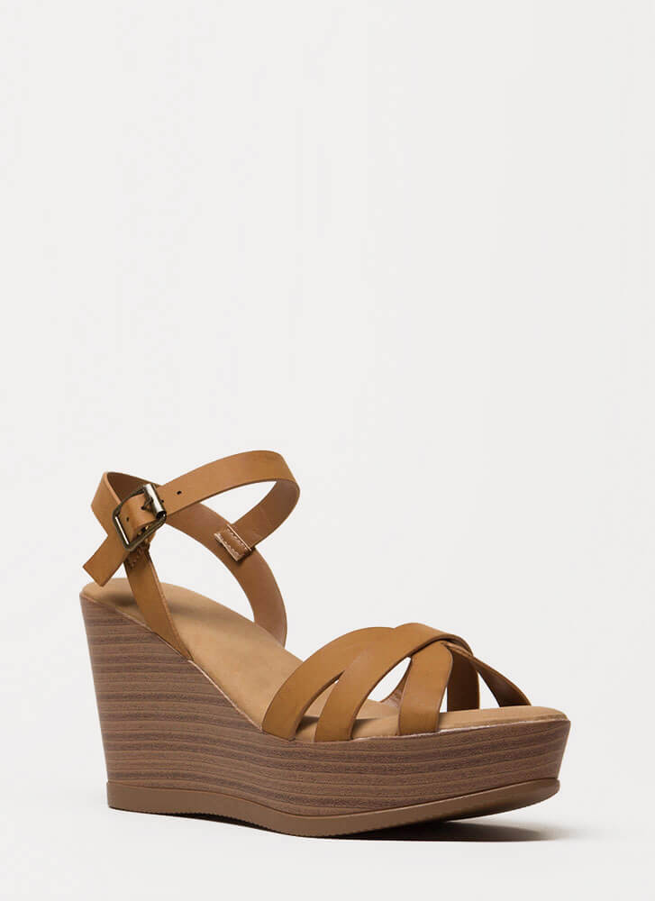 Fun Times Strappy Faux Leather Wedges TAN