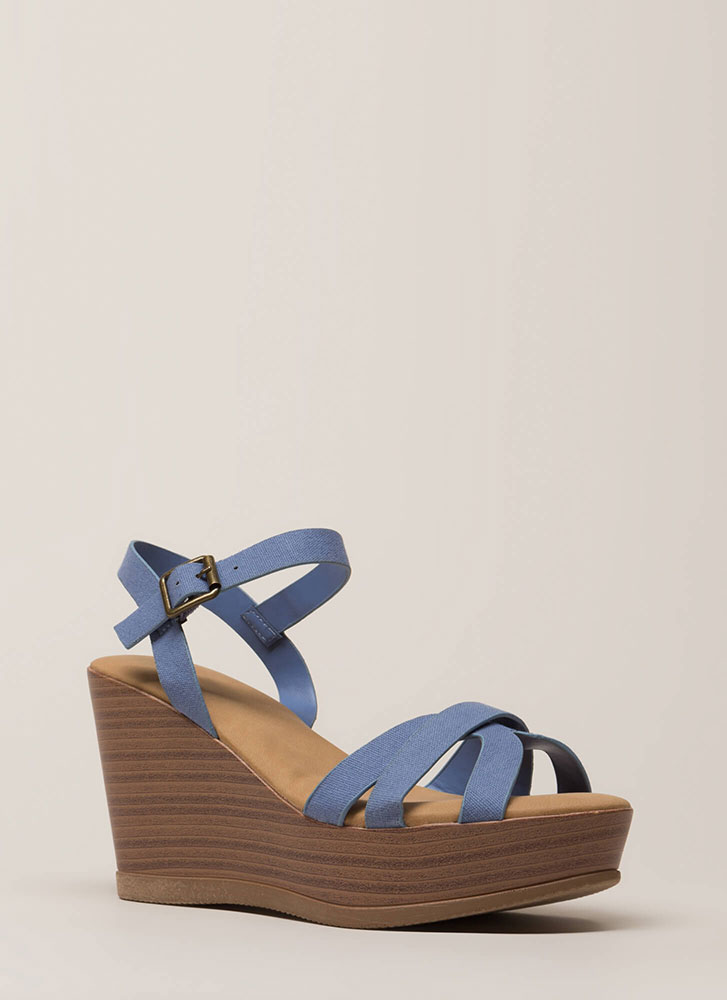 Fun Times Strappy Denim-Look Wedges BLUE