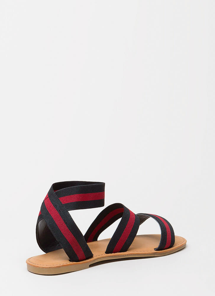 Banding Together Strappy Striped Sandals BLACK