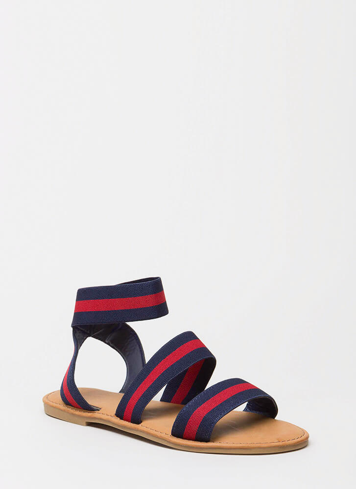 Banding Together Strappy Striped Sandals NAVY