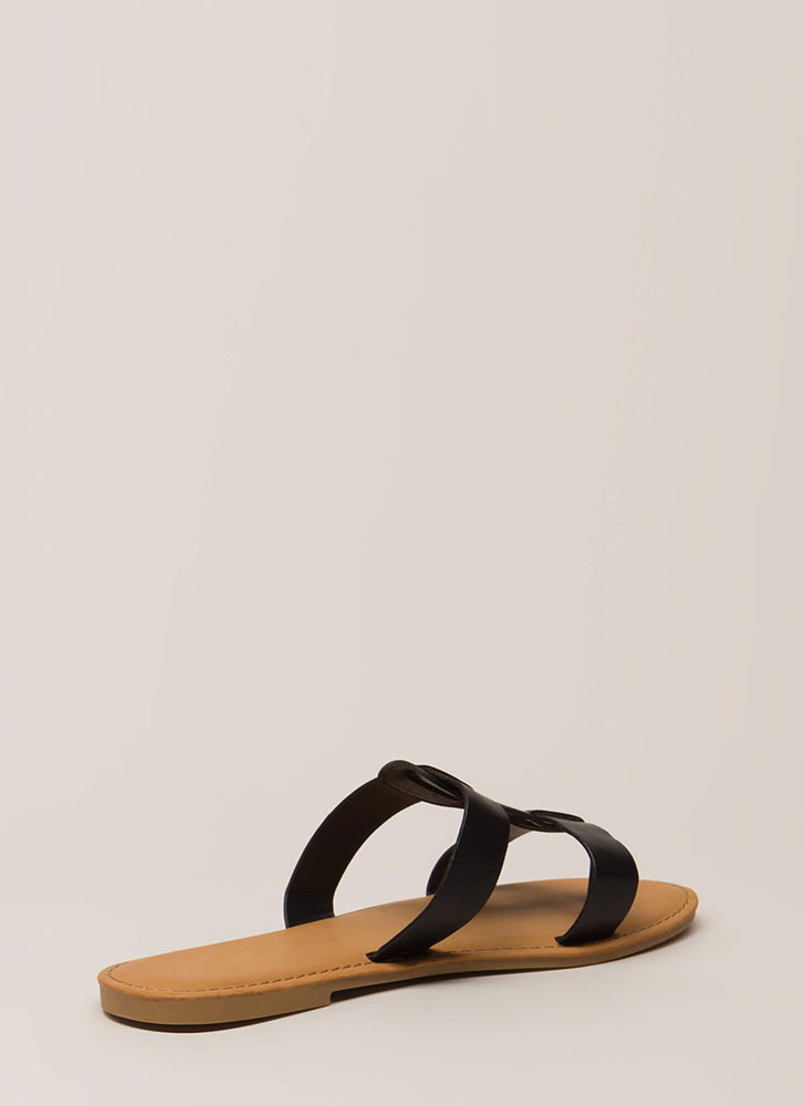 Slide In Strappy Thong Sandals BLACK