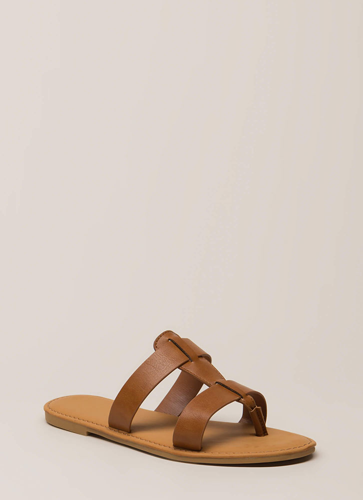 Slide In Strappy Thong Sandals TAN