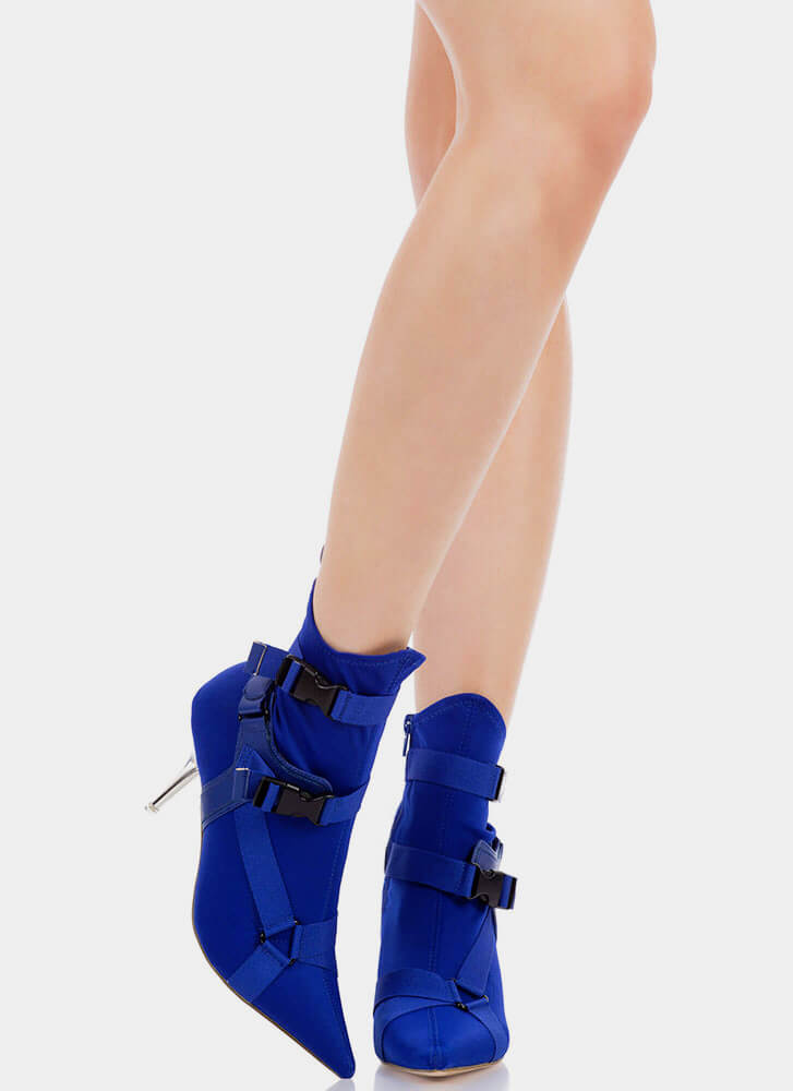 Harnessed In Buckled Sock Booties BLUE