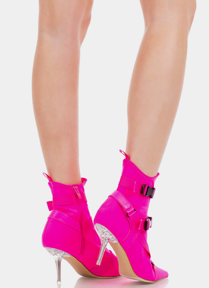Harnessed In Buckled Sock Booties HOTPINK