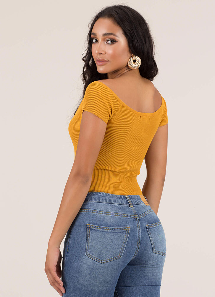 Get Snapped Up Rib Knit Bodysuit MUSTARD