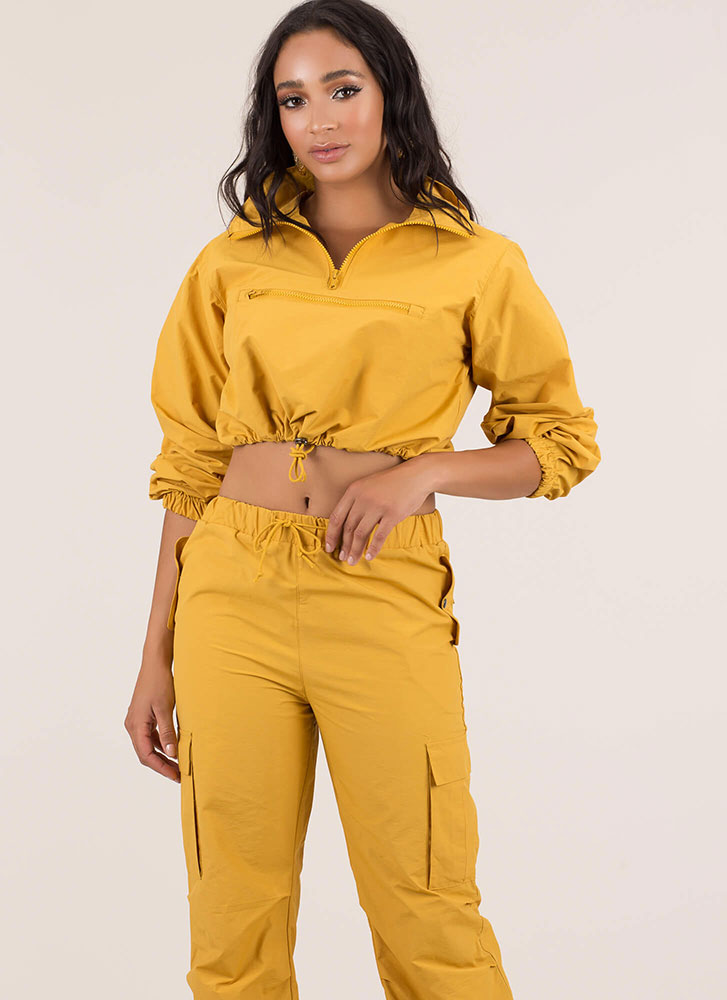 Whoosh Drawstring Windbreaker Crop Top MUSTARD