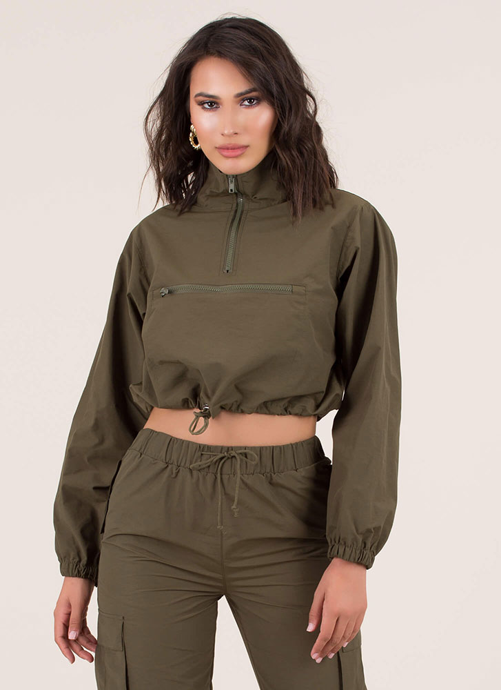 Whoosh Drawstring Windbreaker Crop Top OLIVE