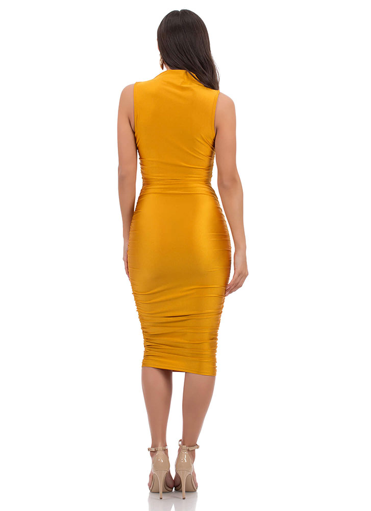 Ruched Hour Satin High-Neck Dress MUSTARD