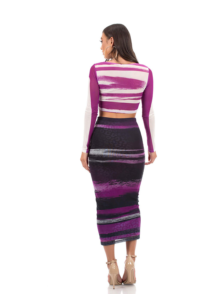 Hot Streaks Mesh Top And Skirt Set PURPLEMULTI