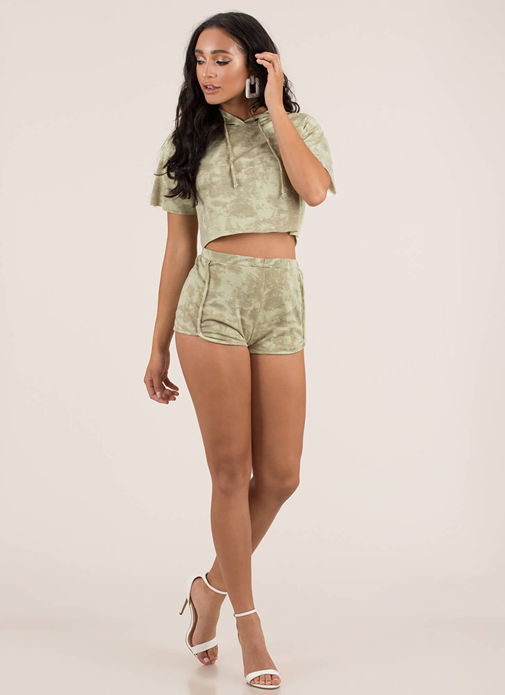 Tie-Dye Twosome Hoodie And Shorts Set OLIVE