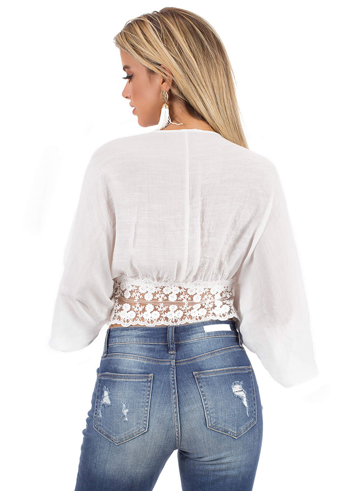 Lovely In Lace Kimono Sleeve Dolman Top WHITE (You Saved $14)