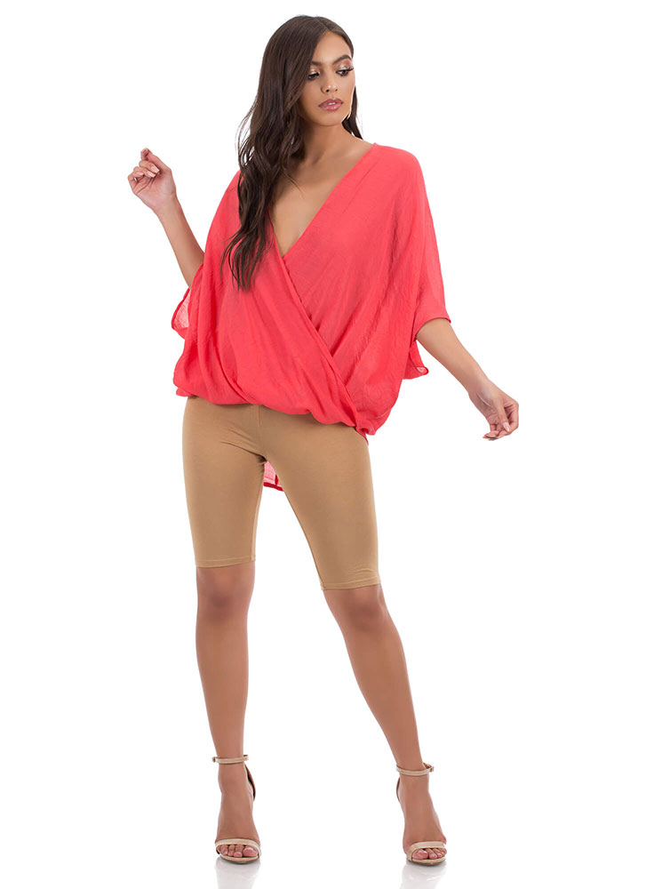Effortless Oversized High-Low Dolman Top RED