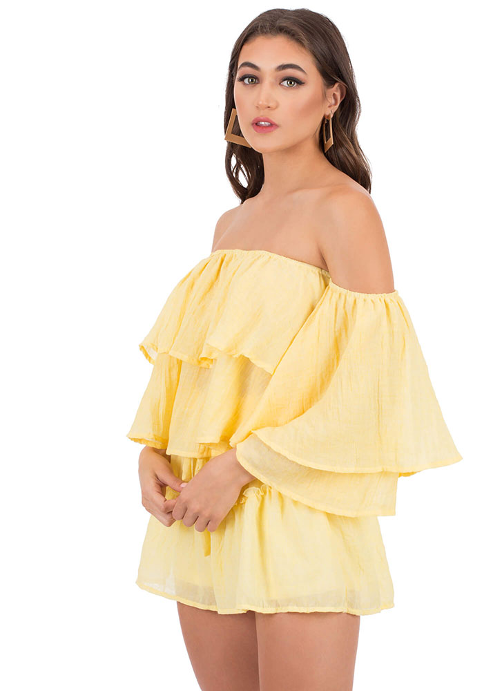In Tiers Off-Shoulder Top And Shorts Set YELLOW (You Saved $21)