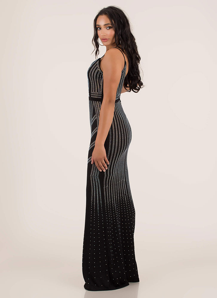 Star-Studded Open-Back Rhinestone Gown BLACK