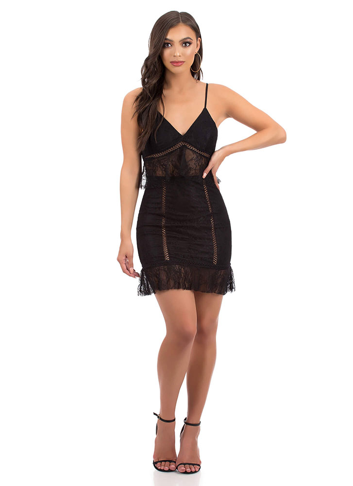 Lace Go Out Tonight Tiered Minidress BLACK