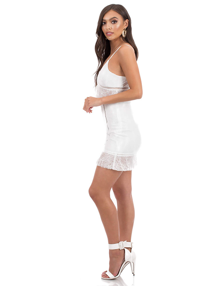 Lace Go Out Tonight Tiered Minidress WHITE
