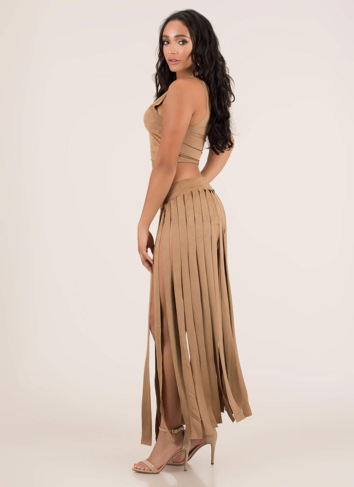 Strip Tease Slashed Top And Skirt Set CAMEL