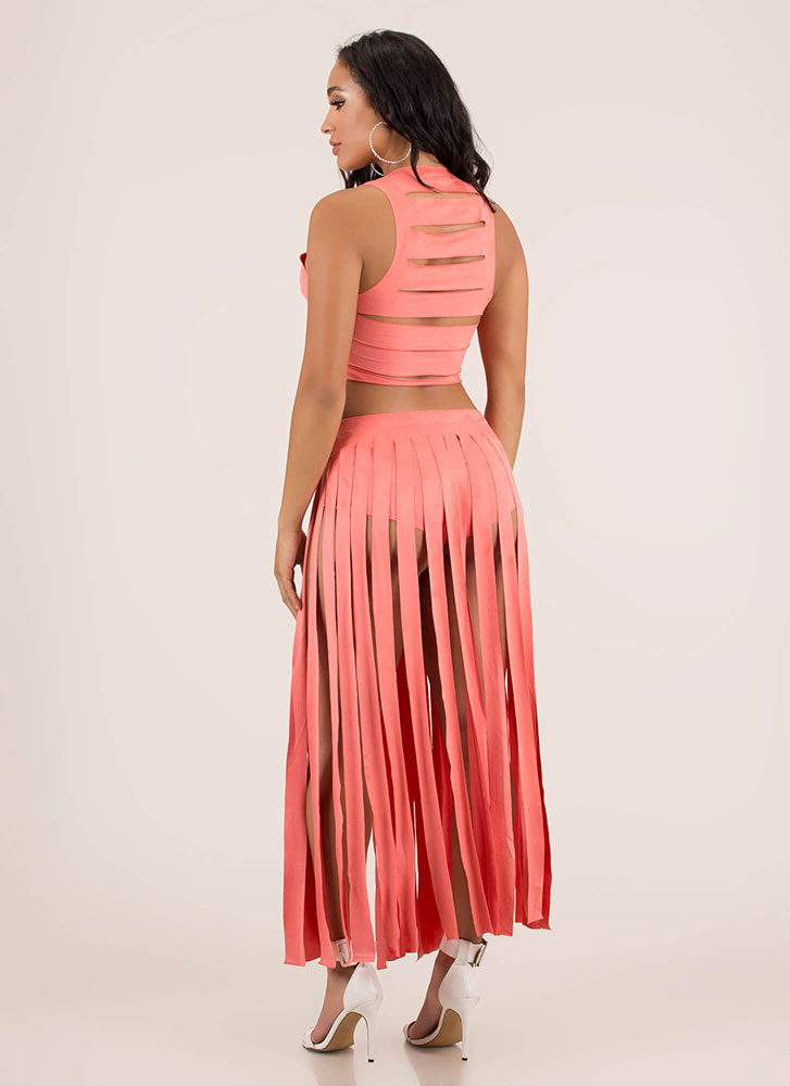 Strip Tease Slashed Top And Skirt Set CORAL