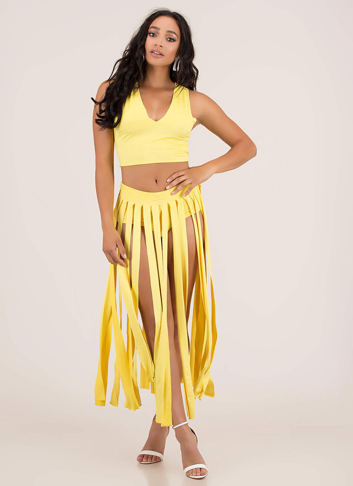 Strip Tease Slashed Top And Skirt Set YELLOW