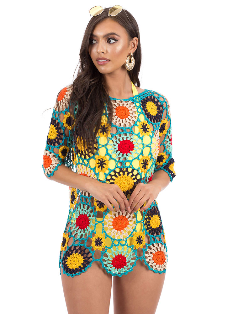 Big Blooms Floral Crochet Cover-Up Top MULTI