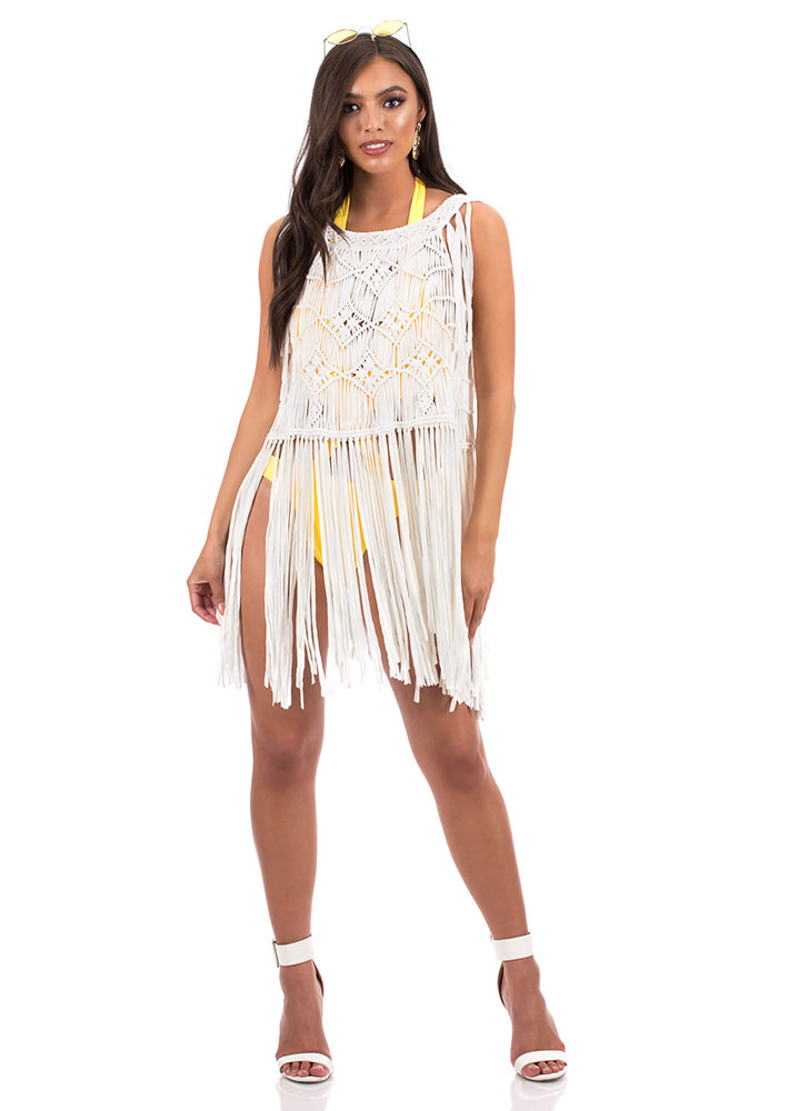 Festival Fringe Crochet Cover Up Top White Black Gojanecom