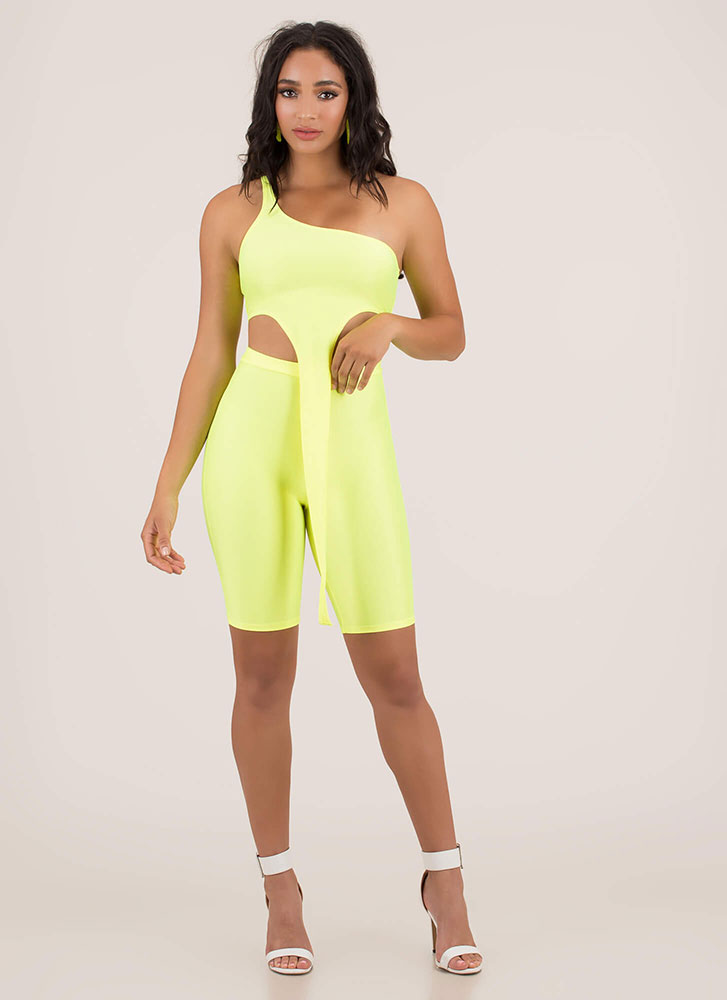 Tail Me One-Shoulder Top And Shorts Set NEONYELLOW