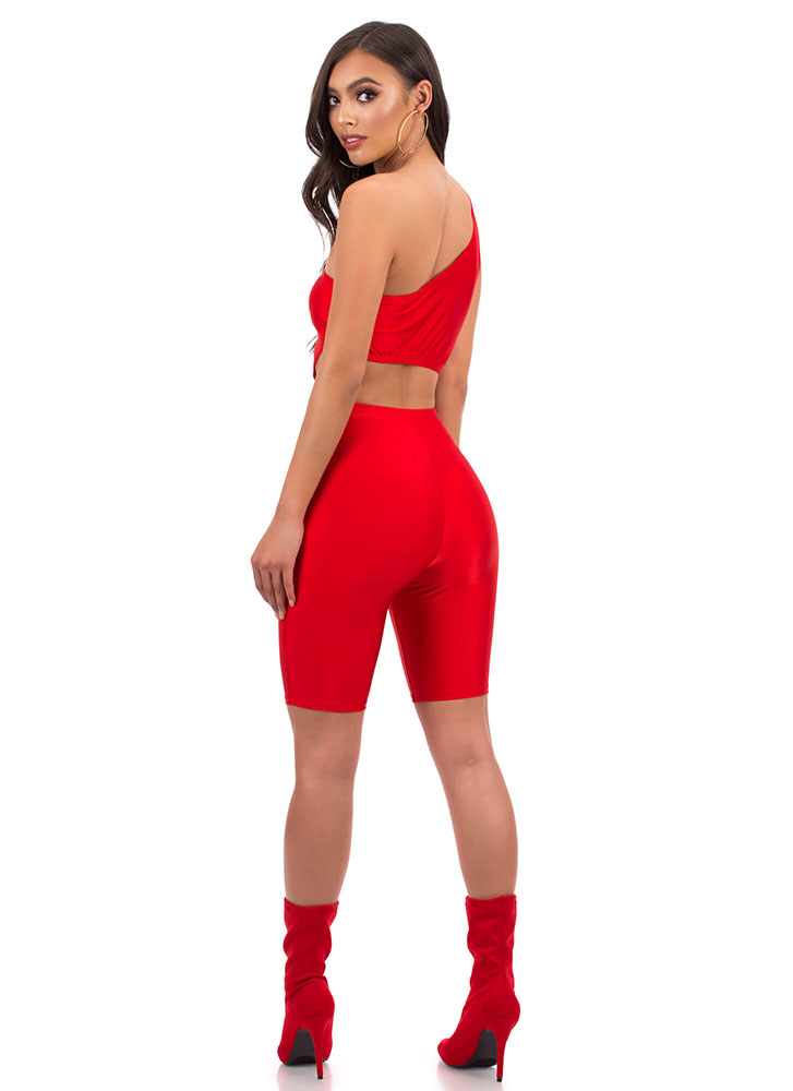 Tail Me One-Shoulder Top And Shorts Set RED