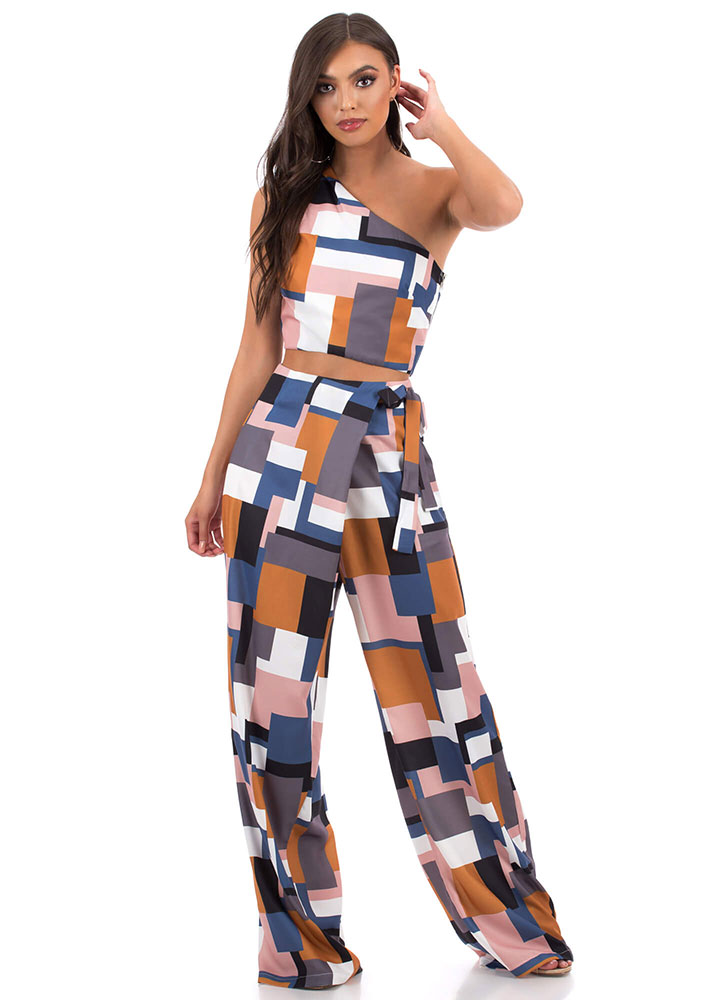 Boxed In Asymmetrical Palazzo Pant Set MULTI