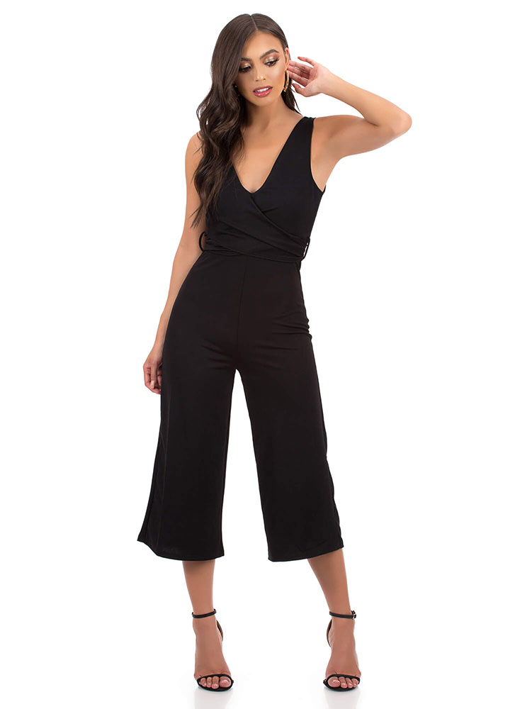 Wrapped Up Tied Cropped Jumpsuit BLACK