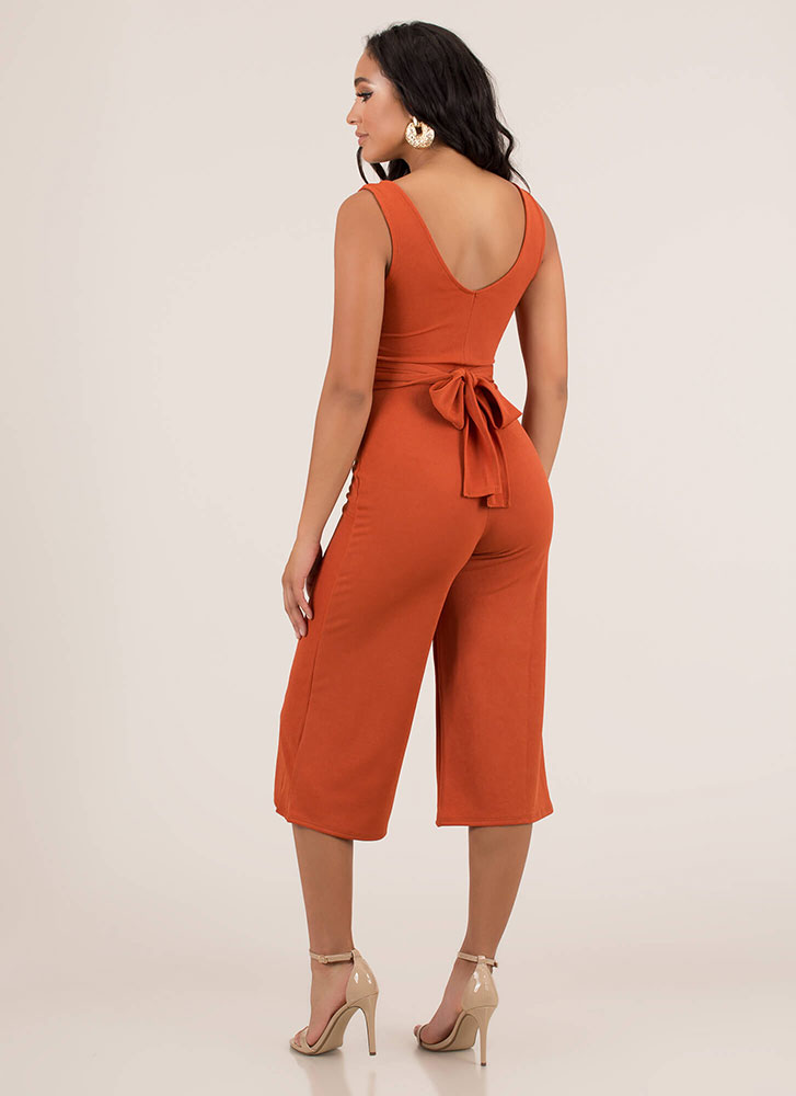 Wrapped Up Tied Cropped Jumpsuit RUST
