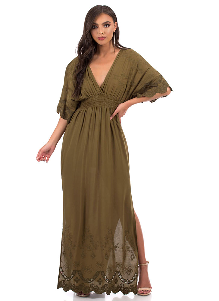 Weekend Flow Embroidered Maxi Dress OLIVE