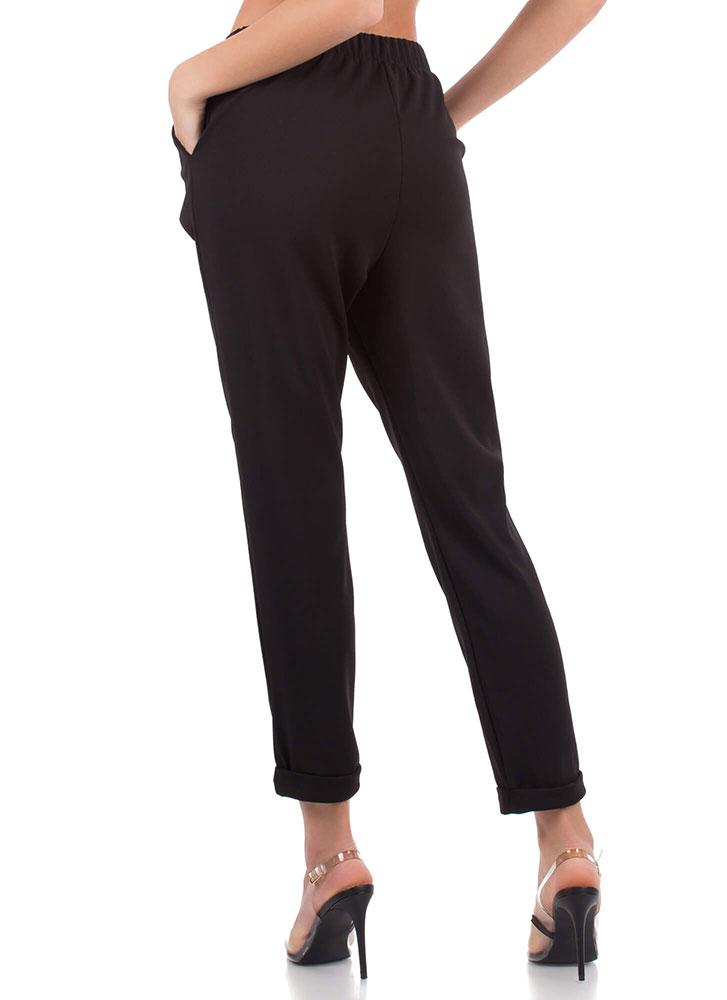 Down To Business Pleated Cuffed Trousers BLACK