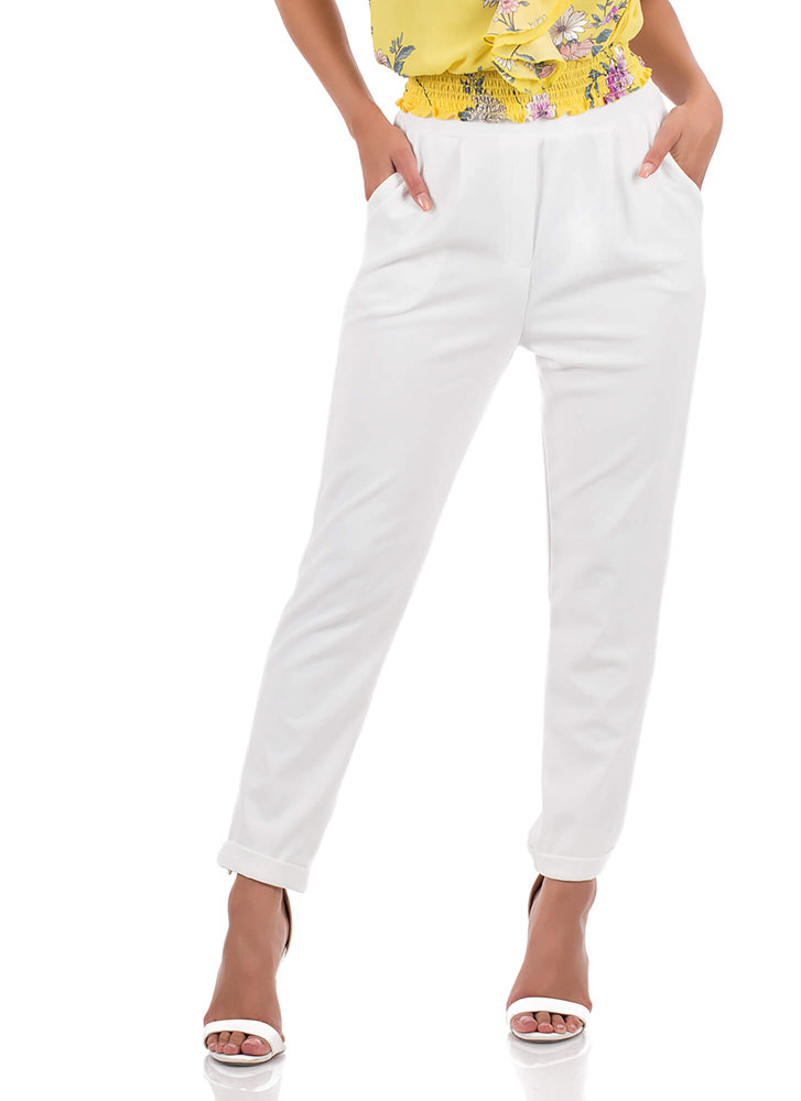 Down To Business Pleated Cuffed Trousers OFFWHITE