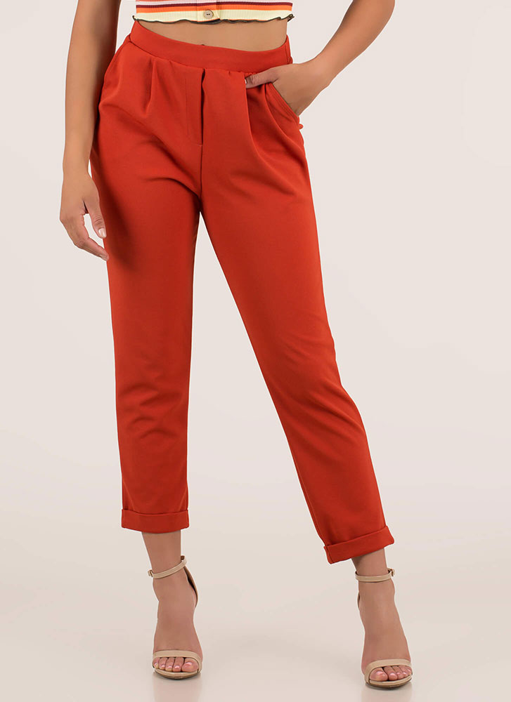 Down To Business Pleated Cuffed Trousers RUST