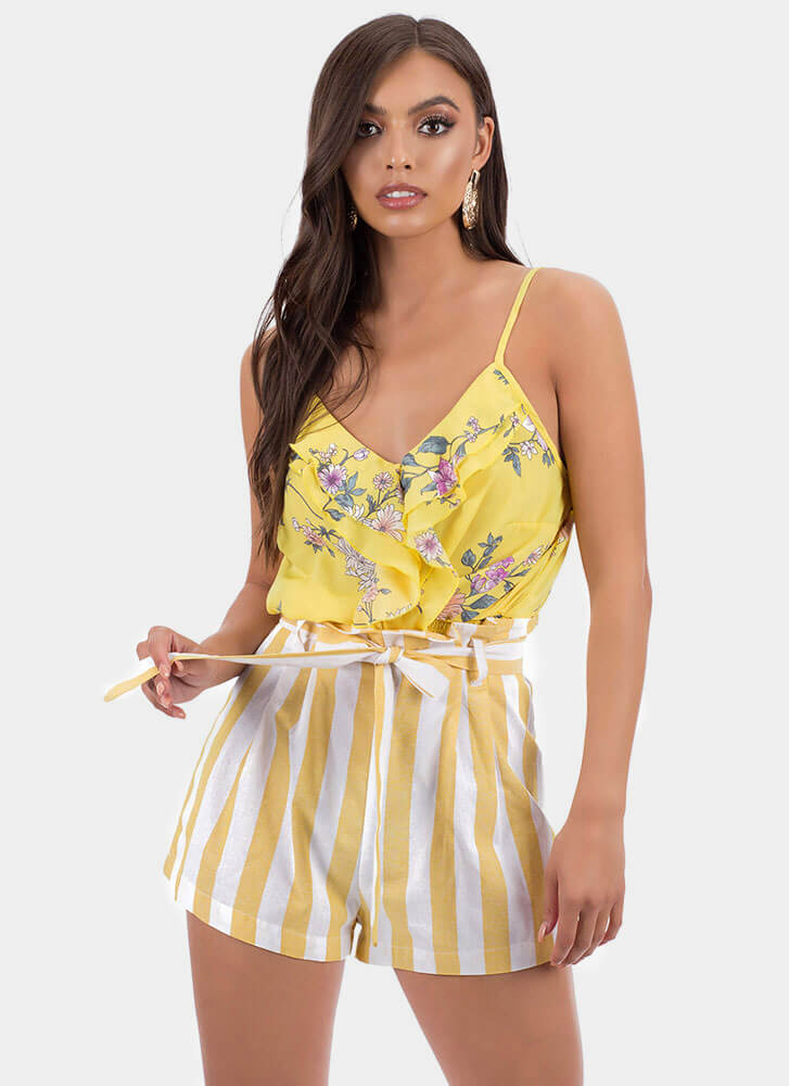 Sea Breezy Striped Tie-Front Shorts YELLOW