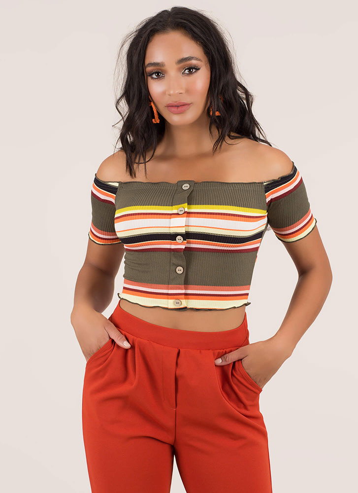 Casual Date Striped Off-Shoulder Top OLIVE