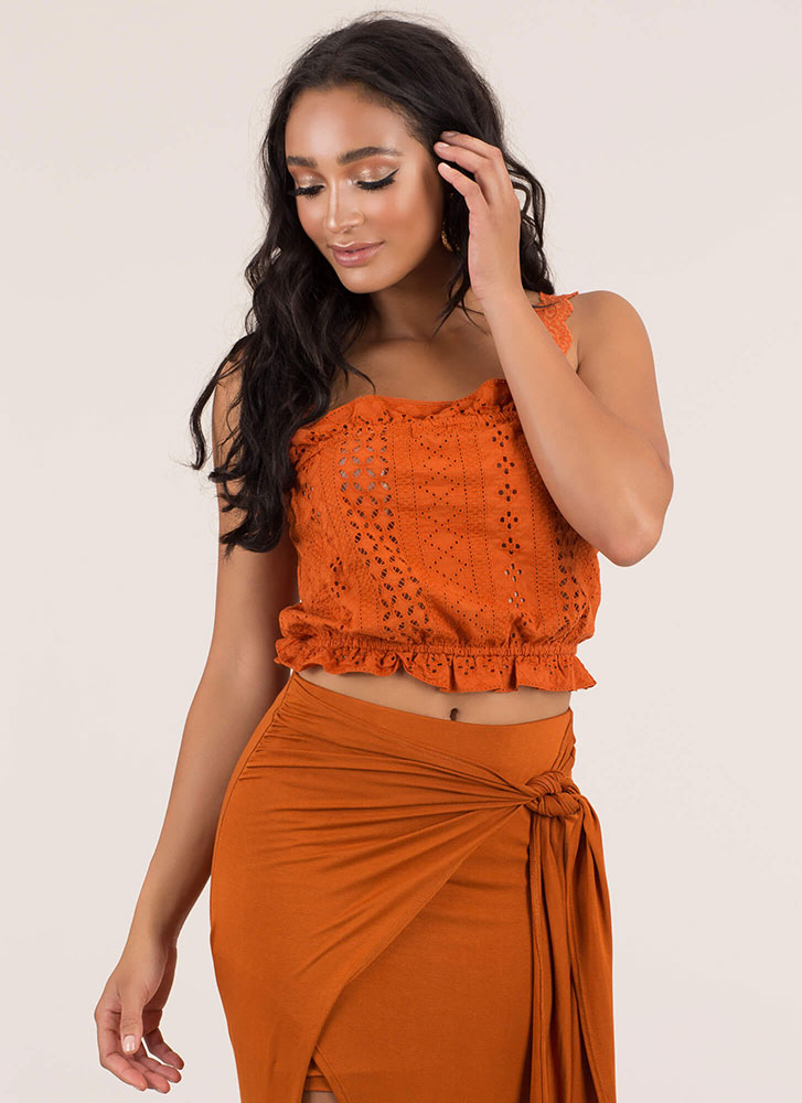 All Eyelets On Me Lacy Ruffled Top RUST